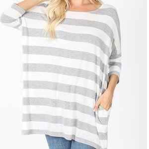 Zenana Striped Drop Shoulder Boxy Top w/Pockets